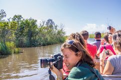 People on airboat in the Everglades,Florida Royalty Free Stock Photography