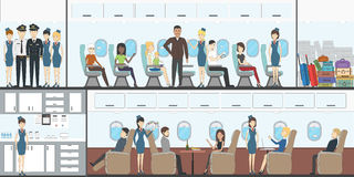 People in airplane. Aircraft transport interior. Stock Image