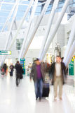 People at the airport. People walking to the gate at the airport. Blurred Royalty Free Stock Photos