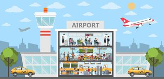 People at airport. People at the airport building. City exterior with airplanes and terminal royalty free illustration