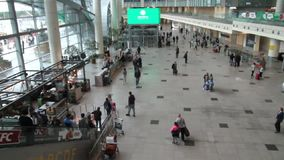 People in the airport building. stock footage