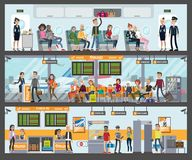 People at airport. People at the airport building and in the plane vector illustration