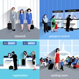 People In Airport. Design concept set with passport control and registration flat icons isolated vector illustration royalty free illustration