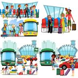 People in airport flat color icons set of pilot stewardess tourists with travel bags at checkpoint and security. Screening isolated vector illustration royalty free illustration