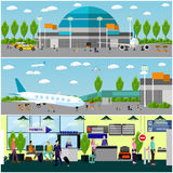 People in airport, flat set Royalty Free Stock Images