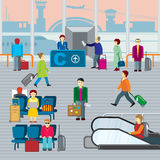 People in airport. Flat vector illustraton Royalty Free Stock Photo