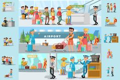 People In Airport Infographic Template. With passengers passing customs control before flight boarding and staff on coffee break vector illustration vector illustration