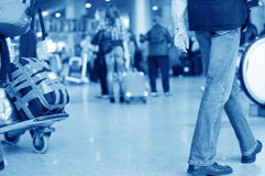 People through airport installations Royalty Free Stock Photo