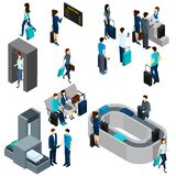 People In Airport Isometric. People in airport lounge and on security check isometric vector illustration Stock Photos