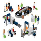 People In Airport Isometric Set. Isometric set of scenes with people in airport including security control and baggage carousel isolated vector illustration Royalty Free Stock Photo