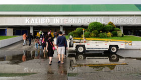 People at the airport in Kalibo, Philippines Royalty Free Stock Images