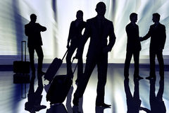 The people at the airport with luggage Royalty Free Stock Photos