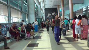 People at the airport in Mandalay, Myanmar stock footage