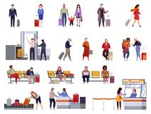 People airport set. Family travel registration passport control checkpoint security airport terminal luggage passenger vector illustration