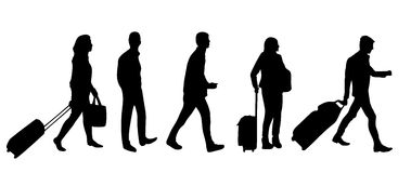 People in airport. Silhouette of people with luggage walking in airport Stock Photography
