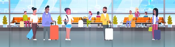 People In Airport Travelers With Baggage At Waiting Hall Or Departure Lounge Terminal Horizontal Banner stock illustration