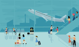People at airport vector travel activities illustration   Royalty Free Stock Photos