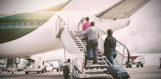 People on airstairs at runway Royalty Free Stock Photography