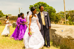 People in AKSUM, ETHIOPIA. AKSUM, ETHIOPIA - SEPTEMBER 24, 2011: Unidentified Ethiopian bride and husband have a traditional Ethiopian wedding. People in Royalty Free Stock Photo