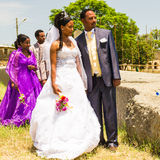 People in AKSUM,  ETHIOPIA. AKSUM, ETHIOPIA - SEPTEMBER 24, 2011: Unidentified Ethiopian bride and husband have a traditional Ethiopian wedding. People in Stock Photos