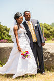 People in AKSUM, ETHIOPIA. AKSUM, ETHIOPIA - SEPTEMBER 24, 2011: Unidentified Ethiopian bride and husband have a traditional Ethiopian wedding. People in Stock Images
