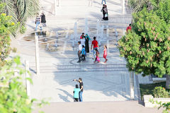 Egypt cairo. People at egyptian garden al azhar park in cairo in egypt stock photos