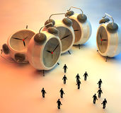 People and alarm clocks. 3d illustration of couple and alarm clocks, time passing concept Royalty Free Stock Image