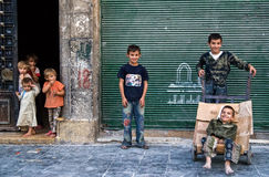 People Aleppo. Civilians in the Syrian city of Aleppo Stock Images