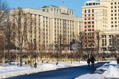 People in Alexander garden of Moscow Kremlin Stock Images