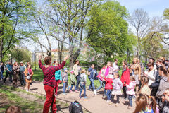 People in the Alexander Park on a show of soap bubbles. Royalty Free Stock Image