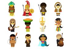 People from all around the world in their national clothes royalty free illustration
