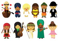 People from all over the world around the world vector illustration