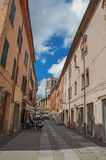 People in alley restaurant in the historical center of Ferrara. Royalty Free Stock Photo