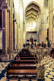 People in Almudena Cathedral. Madrid, Spain. Royalty Free Stock Photos