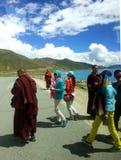 People along Yamdrok Lake stock images