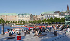 People at the Alster lake in Hamburg Stock Image