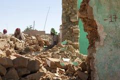People amongst rubble, Ethiopia Stock Photography