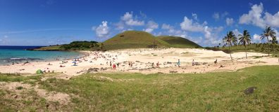People at Anakena beach. Panorama from people at Anakena beach at the Easter Island, Rapa Nui stock photography