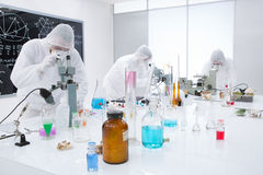People analysing chemical reactions in a lab Royalty Free Stock Photos
