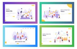 Free People Analysing Statistic Graphic Landing Page. Business Analytic Information Tool Set. Data Visualisation Concept Royalty Free Stock Photos - 139661098