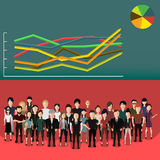 People with analytics. Vector illustration of a group of people with analytics Royalty Free Stock Images