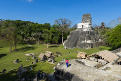 People in the ancient Maya City of Tikal in Guatemala, Central America Stock Photography