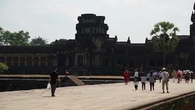 People in Angkor Wat temple in Cambodia stock video footage