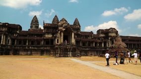 People in Angkor Wat temple, Siem Reap, Cambodia stock video