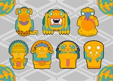 People and animals figures from tribes south america royalty free illustration