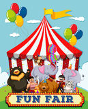 People and animals at the fun fair. Illustration vector illustration