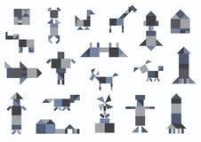 People, animals, houses, transport, geometric shapes Stock Image