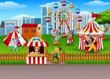 People and animals working at the amusement park. Illustration of People and animals working at the amusement park Stock Photos