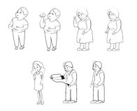 People animation, family, grandmother, grandfather, aunt, uncle, mom, dad. Outline characters for animation or family infographics Royalty Free Stock Images