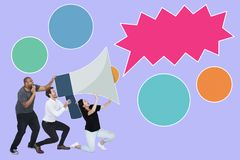 People announcing by a megaphone and a speech bubble stock images